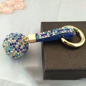 Accessories - Crystal Rhinestone Ball Leather Strap Key Ring